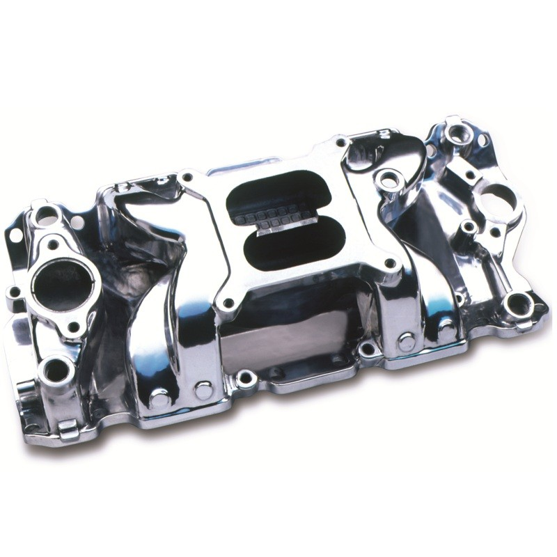 Small Block Chevy V8 Crosswind Intake Manifold Polished